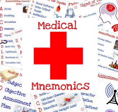 A collection of Medical Mnemonic Flashcards